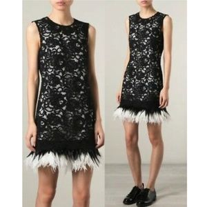 Donna Karan NY black label runway ostrich french lace feather dress size small